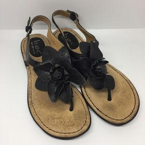 b.o.c Black Leather Sandals